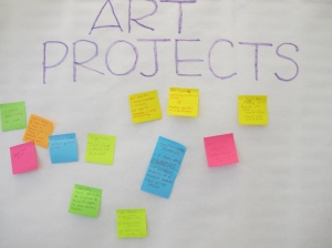 Photo reading Art Projects with sticky notes